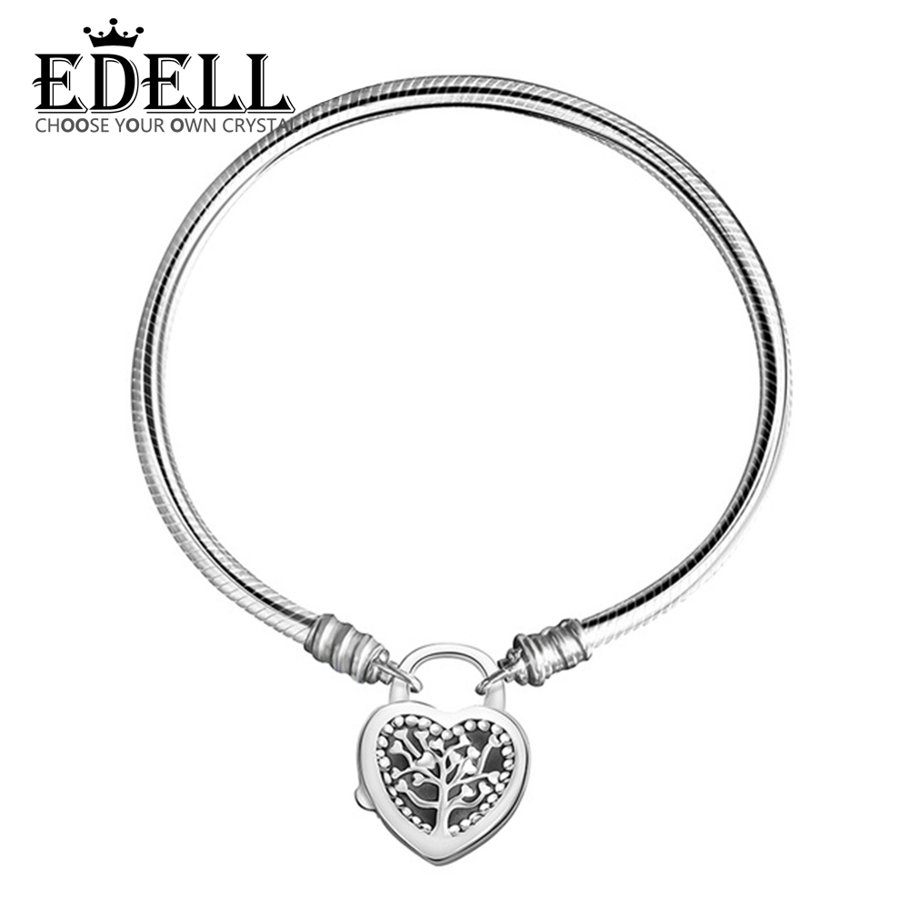 EDELL 100% 925 Sterling Silver Original Genuine 1:1 Charm Tree of Life Bracelet Temperament DIY Beaded Women Jewelry edell 100% 925 sterling silver new charm cute cow beaded exquisite lucky women gift original jewelry factory direct sales 797609