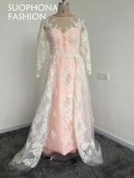 Vestido De Festa Pink Kaftan Long Sleeve Evening Dress 2017 Lace Beaded Tulle Green Evening Gowns