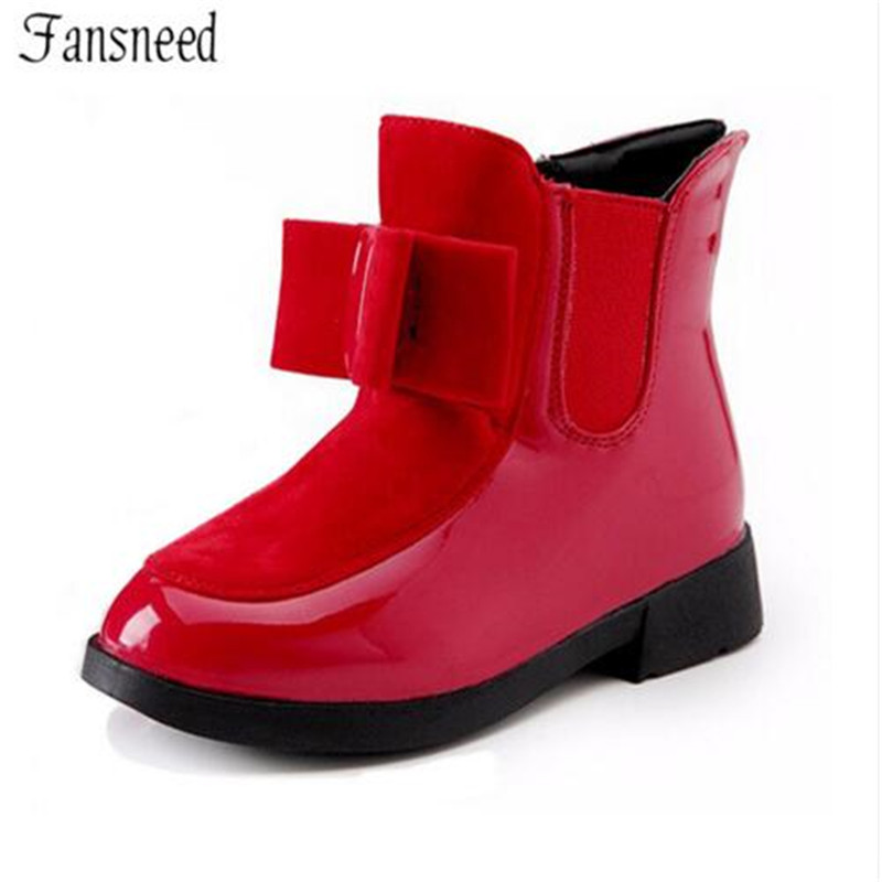 2017autumn and winter boots children`s shoes girls bow in the wind with mid-top of the British carved boots
