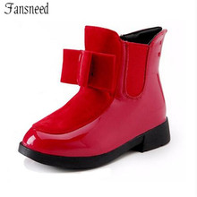 2017autumn and winter boots children's shoes girls bow in the wind with mid-top of the British carved  boots