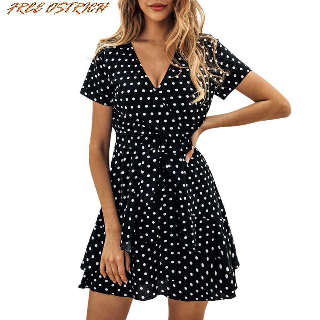 FREE OSTRICH Women Sexy Dot Printing Short Sleeve V-Neck Mini Dress Evening Party Dress Women Dresses Free Shipping Lady Dresses