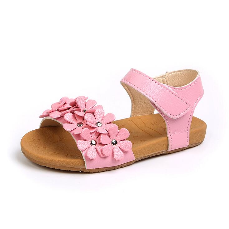 ef0260324bd1 2018 Summer New Kids Beach Shoes Flat Flowers Little Girls Sandals Children  Baby Girls Toddler Anti-slip soft-soled shoes