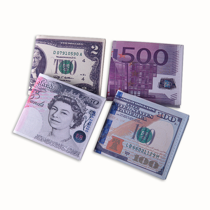 Novel Money Clip Men Women Canvas Dollar Euro Wallet Moneyclip Slim Thin Mini Purse 2fold Student Cartoon Cheap Gift Coin Bag