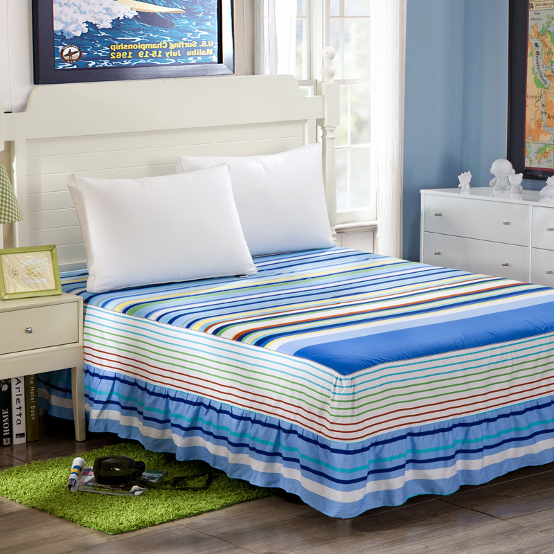 100% cotton Bedskirt print bedspread twin full queen king size <font><b>bed</b></font> skirt mattress protective case/cover