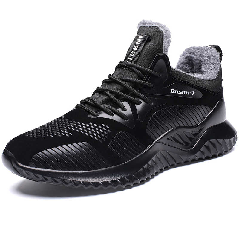 deff99fff7 ... 2018 New Fashion Brand Winter Warm Men Casual Shoes Black Sneakers Male  Walking Shoes Outdoor Men