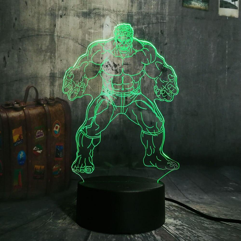 The Hulk The Avenger Cool Super Hero RGB 3D LED Night Light Desk Lamp Multicolor RGB Bulb Christmas Home Decor Kids Novelty Gift