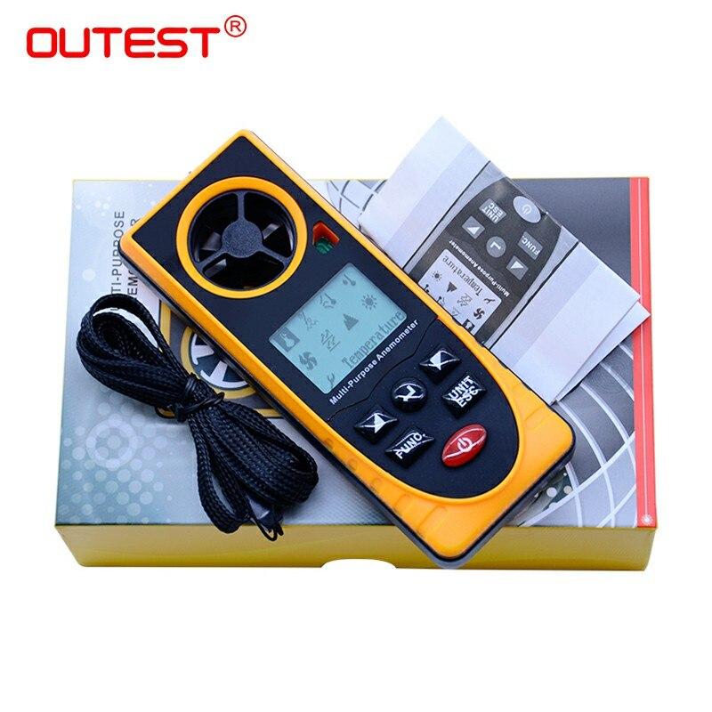 GM8910 Многофункциональный цифровой анемометр ветра точки росы барометрическое давление тестер с красочной коробке