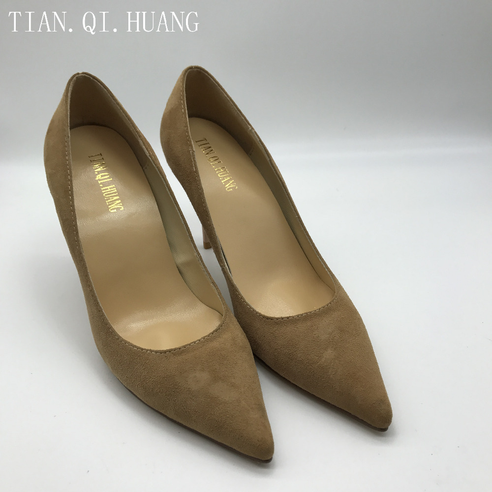 New Suede High Heels Shoes Styles Fashion Design Pumps Women, Genuine leather Woman Sexy Shoes Brand TIAN.QI.HUANGSize 35-42 2