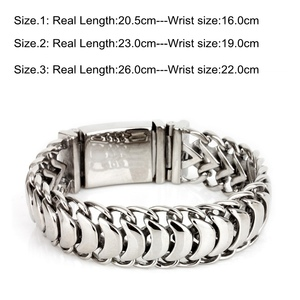 Image 2 - Kalen New High Polished Shiny Bracelets Stainless Steel Bike Link Chain Bike Chain Bracelets Fashion Male Accessories 2018