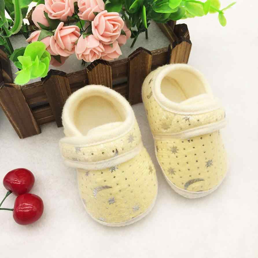 שמי זרועי הכוכבים מודפס פעוטות אנטי להחליק רך תינוק נעלי יילוד תינוק ילד ילדה קוטן מוקסינים שוליים סוליות הרך -להחליק הנעלה