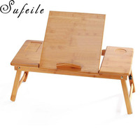 SUFEILE Portable Folding Learning Laptop Desk Adjustable Office Computer Desk Bamboo Table For Lazy People D5