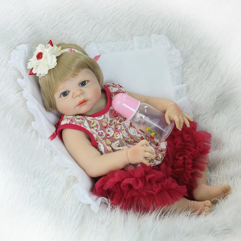 Nicery 22inch 55cm Magnetic Mouth Reborn Baby Doll Hard Silicone Lifelike Toy Gift for Children Christmas Red White Flowers Toy super cute plush toy dog doll as a christmas gift for children s home decoration 20