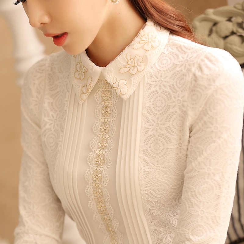 2019 Nuova Perla Del Merletto Delle Donne Camicetta E Camicie Solido Bianco Sottile Sexy Office Lady Elegante Che Basa Shirt Top