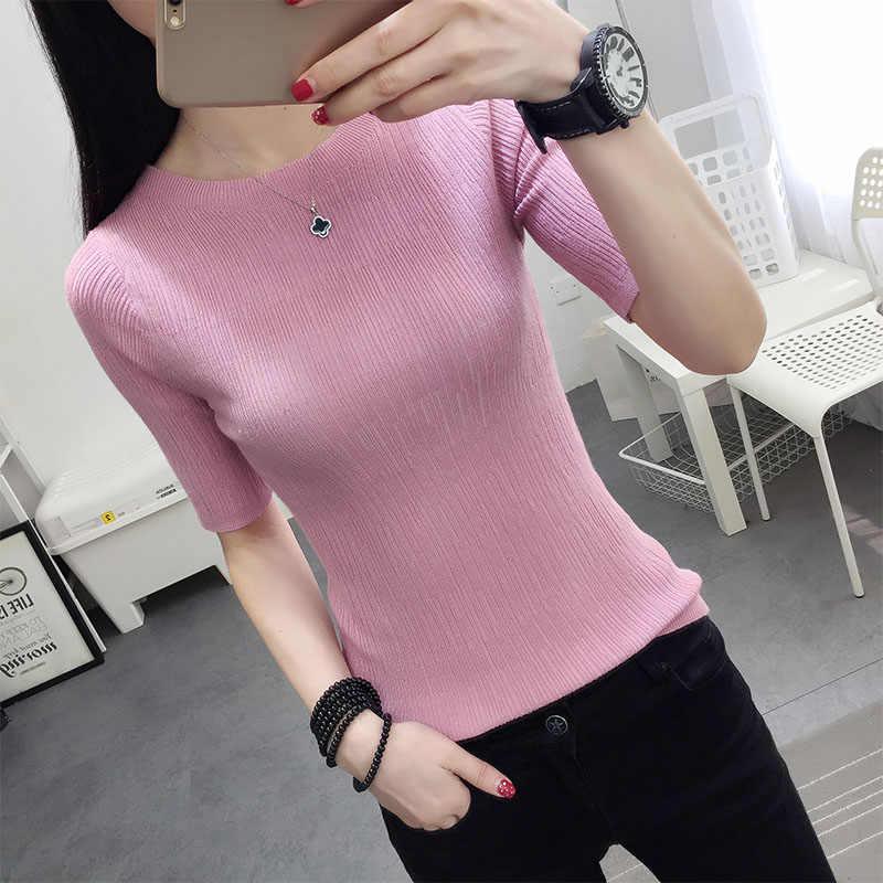 OHCLOTHINGnew style2019 хлопковый свитер с коротким рукавом и круглым вырезом Женская рубашка с длинными рукавами пять твердый свитер тонкий ремонт