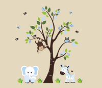 Safari Dieren Natuur Verwisselbare Muurstickers Kids Nursery Micro-Fiber 83