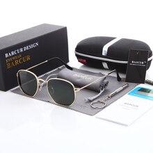 Classic Retro Reflective Sunglasses Man BC3548 Hexagon Sunglasses Metal Frame Eyewear Sun Glasses With Box Oculos De Sol gafas