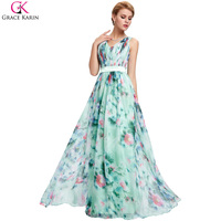 Evening Dresses Long 2016 Grace Karin Chiffon Flower Floral Print Sexy V Neck Summer Elegant Formal