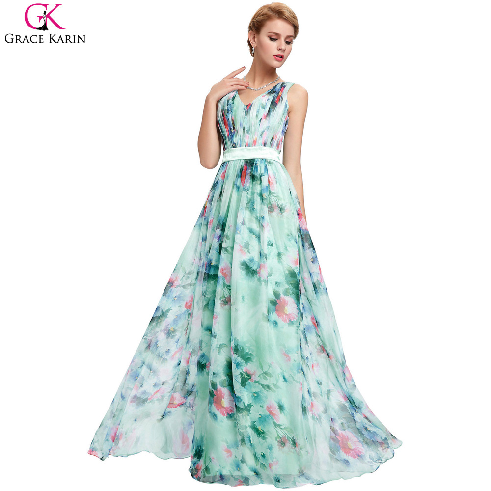 Grace Karin Chiffon Flower Floral Print Evening Gowns Sexy ...