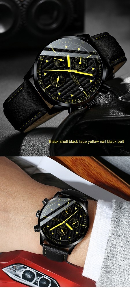 Luxury Men's Quartz Watch Sport Casual Wristwatch Men Military Watches Clock Man Leather Wrist Watch Date Waterproof 30M Relogio