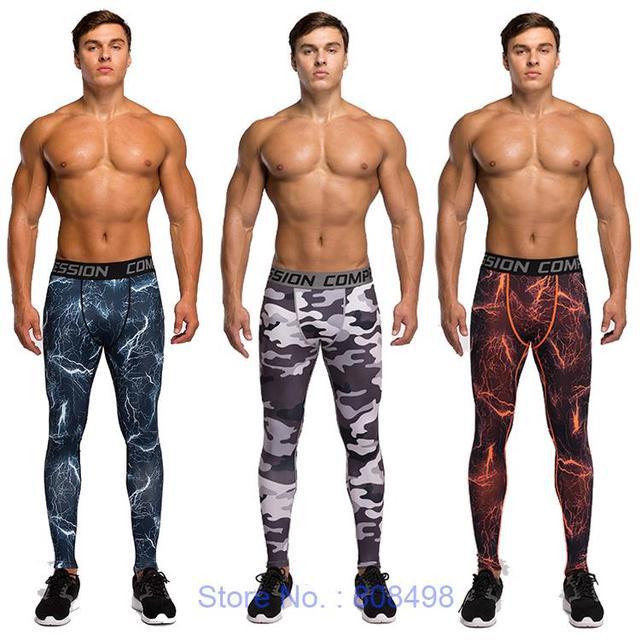 Мужские сжатия брюки jogger длинные брюки колготки упражнение фитнес леггинсы брюки