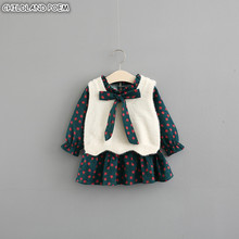 Baby Girls Clothes Autumn Baby Girl Dress Winter vestido infantil Dress +Knitted Vest 2Pcs Cotton Toddler Kids Dress For Girl