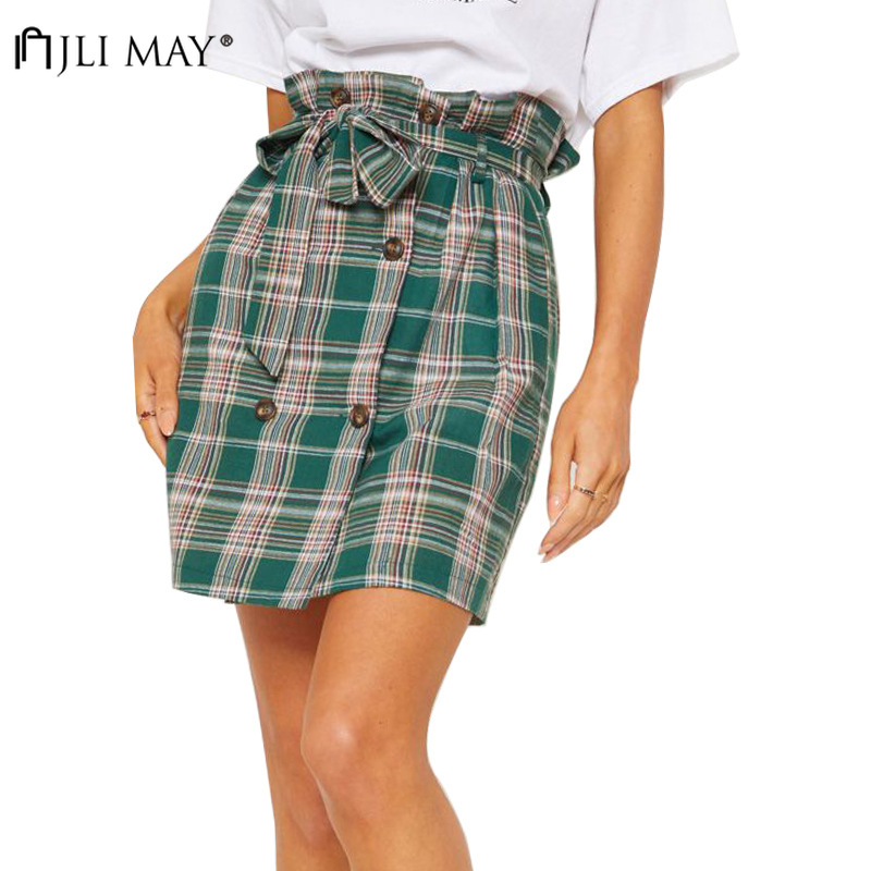 ... Women Clothes Single-breasted Elegant Short Sleeve Midi. US  19.89. JLI  MAY High Waist Mini Plaid Skirts Girls Harajuku short Skirt A-line belted  button dcbd34a85453