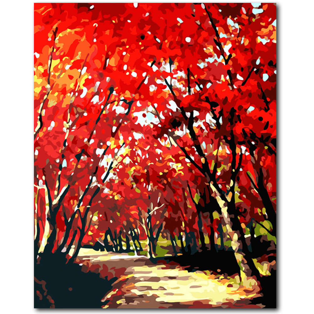 DIY Oil Painting Red Tree Flower Canvas Art Wall Picture Abstract Digital Oil Painting By Numbers Frameless for Home Decor