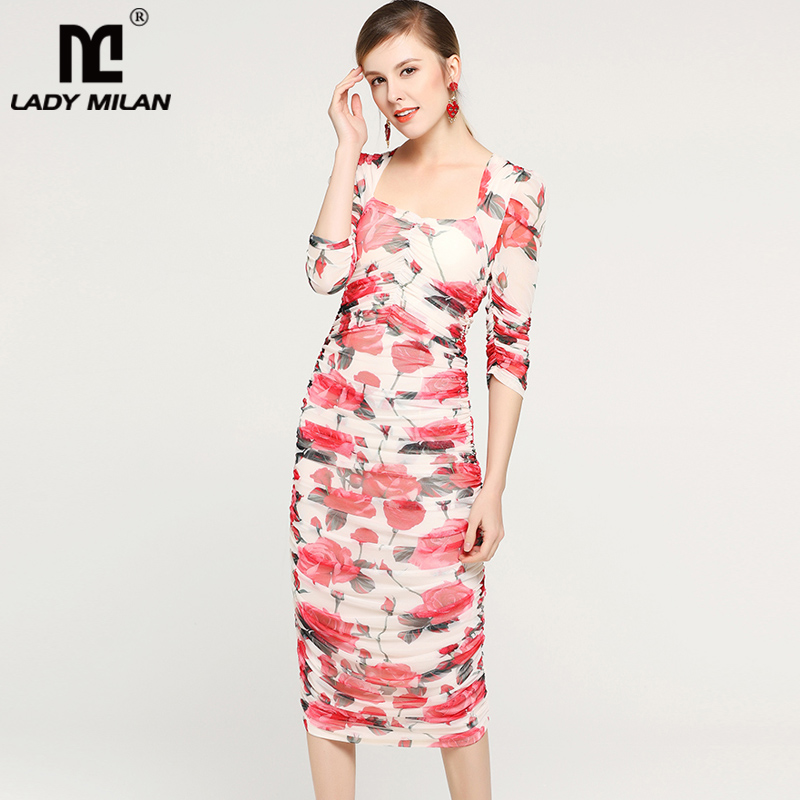 Lady Milan 2019 Women s Runway Dresses Square Neckline Roses Printed Ruched Picked Up Elegant Fashion