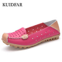 KUIDFAR 2018 Women Flats Solid Comfortable Women Casual Shoes Round Toe Moccasins Loafers Wild Breathable Driving Shoes red