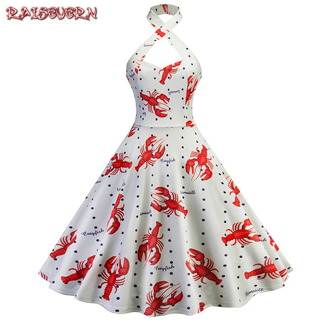 271f7820b RAISEVERN Vintage Women Elegant Crossing Halter Mini Dress Lobster Print  Tunic High Waist Sexy Ladies Above