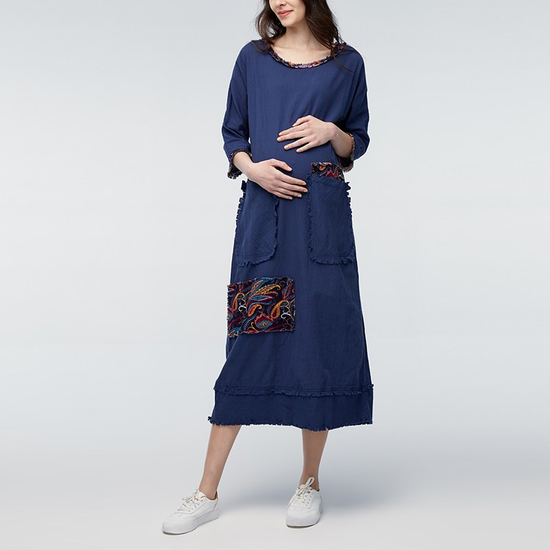 Pregnancy Spring Summer Dress 2018 Vintage Maternity Clothes Pregnant Women Casual Loose Long Sleeve O Neck Maternity Vestidos