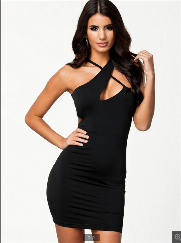 2017 For Ladies Black Red 2 Colors Sexy O Neck Hollow Out halter Bodycon Dresses Sleeveless
