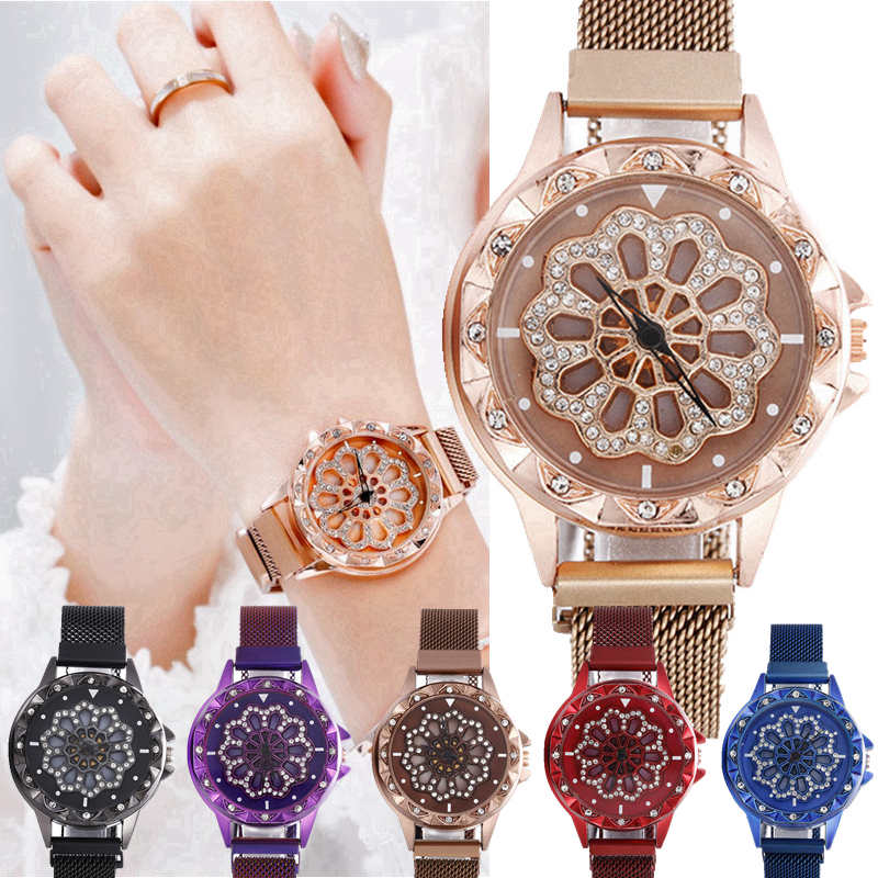 fashion popular women ladies creative Rotatable Flower Design alloy mesh belts dress Magnet Rotation Clock wrist