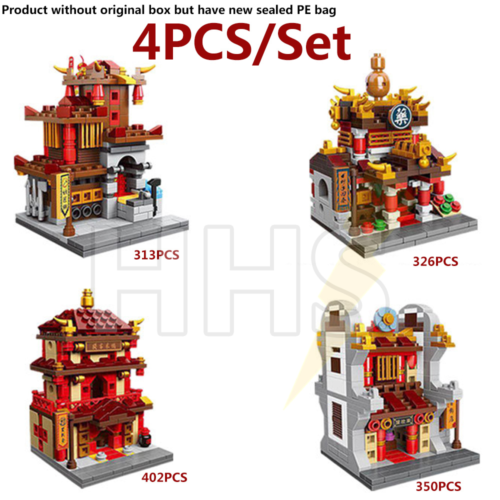 4PCS/Set Chinese style City Street View Building Blocks Toys Bricks MOC Compatible With Legoe City ninjago Toys for children lepin city town city square building blocks sets bricks kids model kids toys for children marvel compatible legoe
