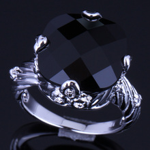 Jolly Big Square Black Cubic Zirconia 925 Sterling Silver Ring For Women V0152
