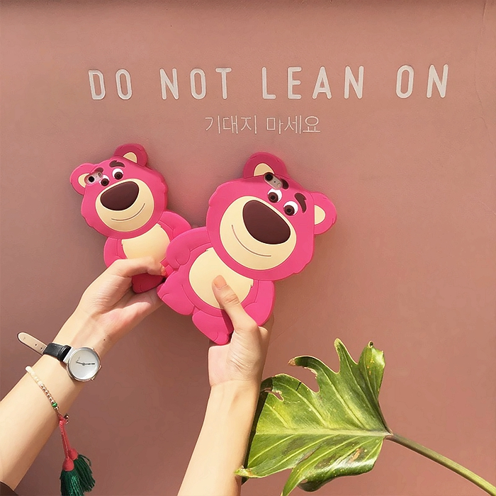 3D Cartoon Emboss Silicone <font><b>Toy</b></font> <font><b>Story</b></font> 3 Huggin Bear Lotso Phone Case For Apple <font><b>6</b></font> 6s 7 8 Plus X XR XS MAX Protective Cover <font><b>Funda</b></font> image