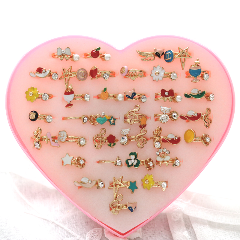 36 pairs of ring children Gold Tone Assorted Design Crystal Ring Cute Kid Child Party Small Size Adjustable Jewelry Wholesale Lo