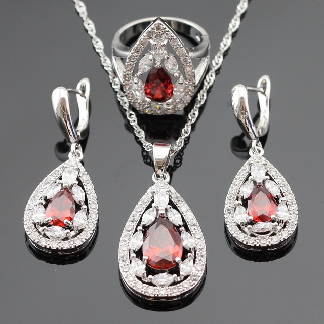 Ashley Silver Color Jewelry Sets For Women Christmas Red White Cubic Zirconia Necklace Pendant Drop Earrings Rings Free Gift Box