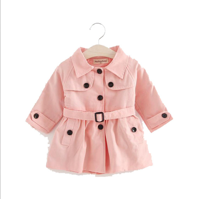 Children Clothing Girl Trench Spring Cotton Solid Print Lapel Long Sleeves Coats For Girl 2017 New Kids Clothes Girl Outerwear