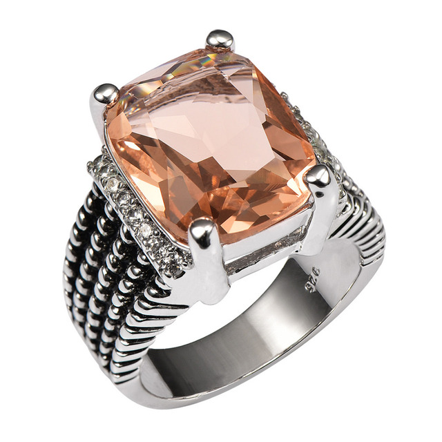 Huge Morganite With Multi White Crystal Zircon 925 Sterling Silver Ring For Wome