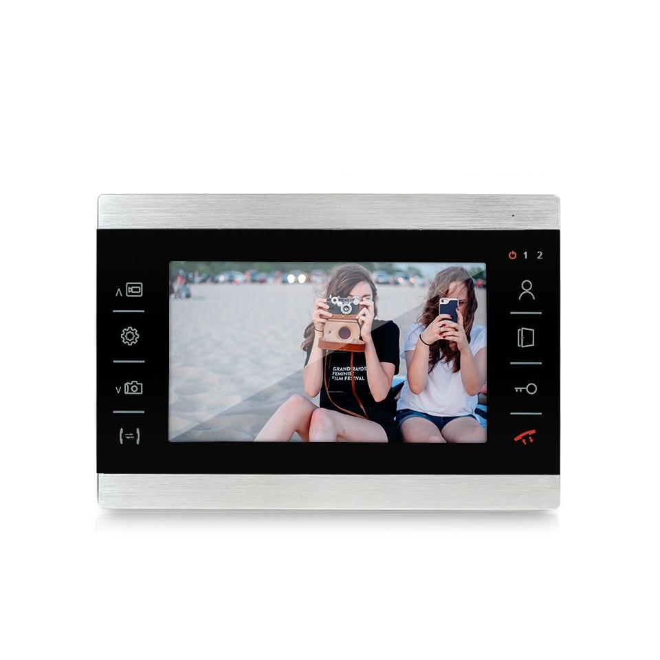 Купить с кэшбэком Dragonsview 7 Inch Video Doorbell Intercom Door Phone System 1200TVL Electronic Doorman with Camera Waterproof Metal Panel 16GB