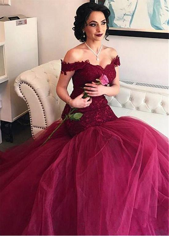 Burgundy Vestido De Noiva 2019 Muslim Wedding Dresses Mermaid Off The Shoulder Tulle Lace Boho Dubai Arabic Wedding Gown Bridal