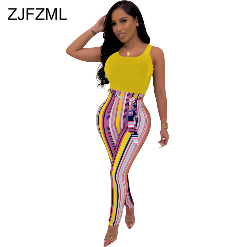 Vertical Striped Spliced Bandage   Jumpsuit   Women High Waist Sleeveless Club Party Romper Summer Belt Skinny One Piece Body Femme