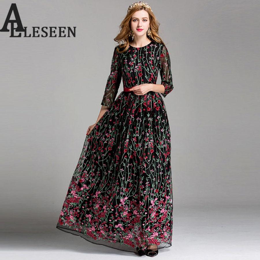 Gorgeous Embroidery Dresses Runway Dress Women 2017 Arabic Summer Black / Beige Plus XXL Long Fashion Elegant Floral Maxi Dress