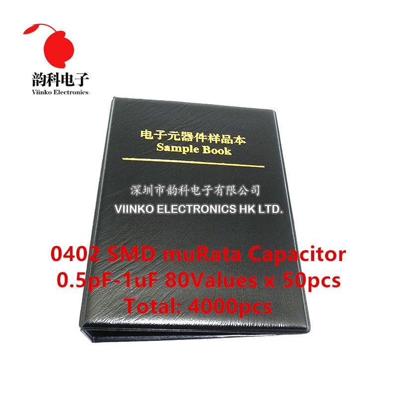 0402 японский конденсатор muRata SMD, книга для образцов, набор, 80 valuesx50 шт. = 4000 шт. (от 0,5 до мкФ)