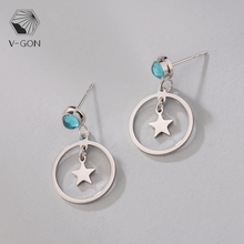 V-GON Circle Star Blue Crystal Alloy Dropping Earrings Classic Style Simple Jewelry Oorbellen Fasion for Women Cute Lovely Gift цена