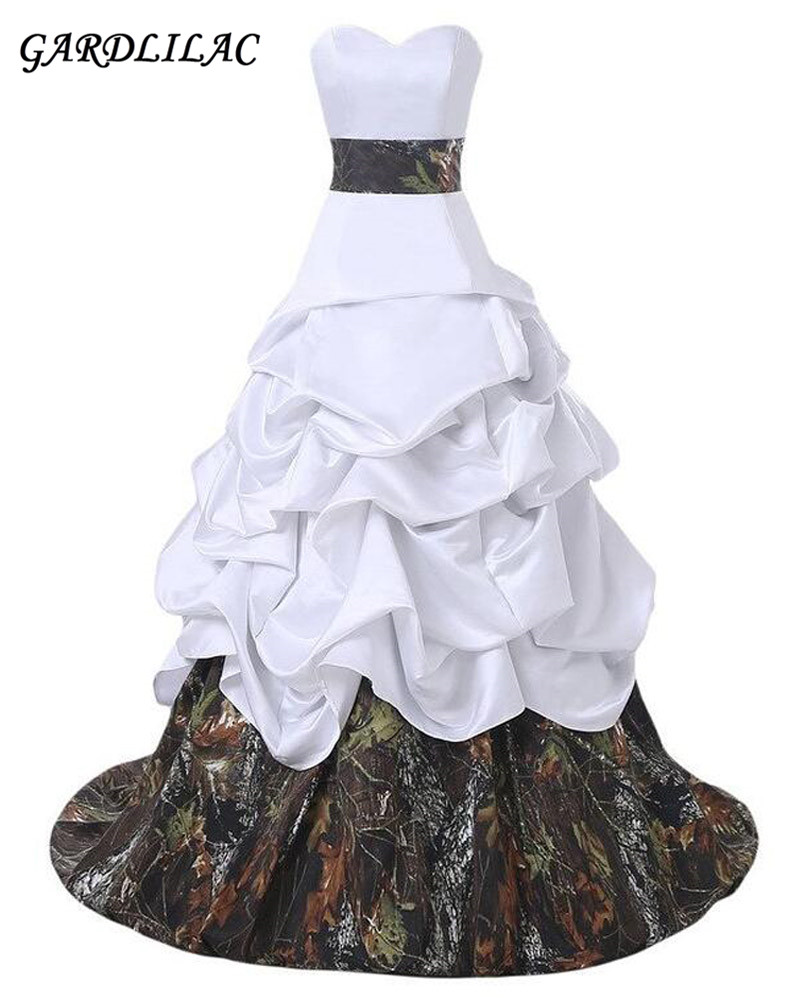 2017 New Arrival Amazing White And Camo Ruffles Bow Quinceanera Dresses