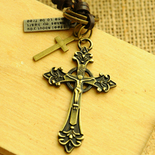 Vintage leather rope necklace long Cross male leather cord necklace male female Cross pendant necklace male Jewelry xg