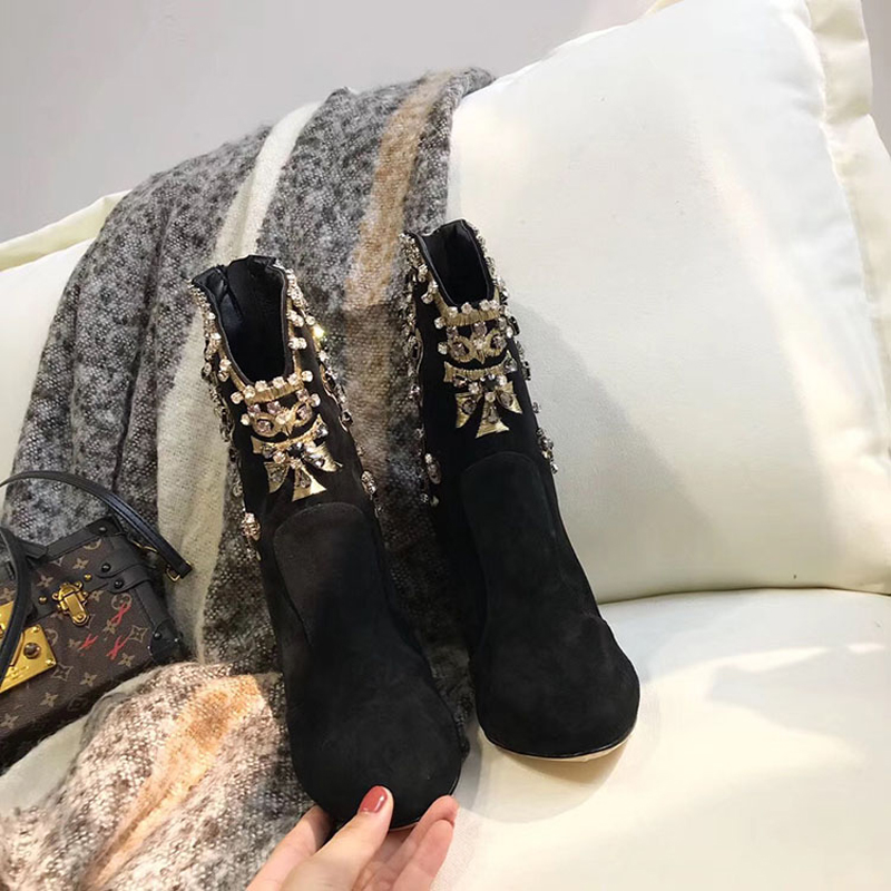 Joyas Cuero Imitación Invierno Tacón Zapatos Black Cremallera Botas Ante Genuino La Las Negro Mujeres Diamantes Alto De Cortas Bordado Lujo Rc0aWc5wq