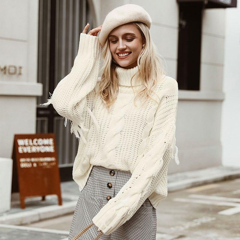 Conmoto Solid Deep Gray Casual Women Sweaters 19 Winter Turtleneck Knitwear Sweater Oversized Tassel Knitted Pullovers Jumpers 8